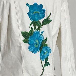 LuLaRoe Womens Jean Jacket S White Demin Harvey